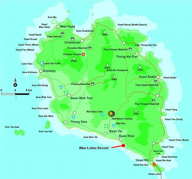 Blue Lotus Resort Koh Phangan Map